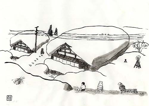雪に包まれた金澤屋と塩沢の町=高野信義絵